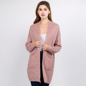 Sweaters - NWT Blush Pink Oversized Heather Knitted Cardigan
